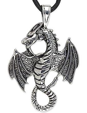 Anhänger Drache Big Dragon aus Edelstahl mit schwarzem Lederband