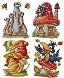 Unbekannt 4 Stück: XL Fensterbilder Herbst - Schnecke / Rabe / Pilz / Erdmännchen - Sticker Fenstersticker Aufkleber selbstklebend & statisch haftend wiederverwendbar
