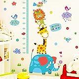 #10: Decals Design Wall Stickers Cute Elephant Giraffe Cartoon Animals Height Scale for Kids (PVC Vinyl, 50 x 70 cm, Multicolor)