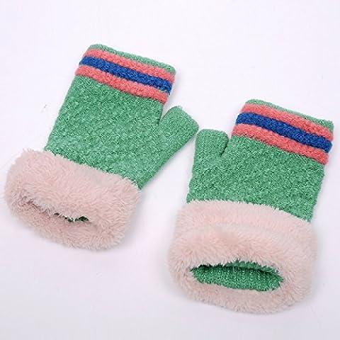 ZHGI Guanti coreano donne inverno carino studente maglia felpato caldo inverno lana senza dita GUANTI A MEZZE DITA guanti,verde