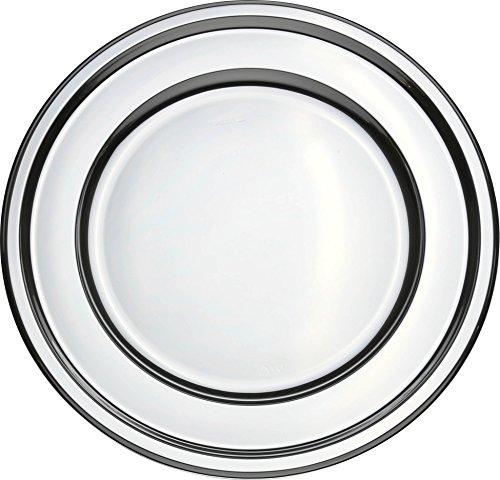 MOZAIK 4 runde Platzteller aus Kunststoff in Silberfarbe mit Schwarzen Boden 30cm
