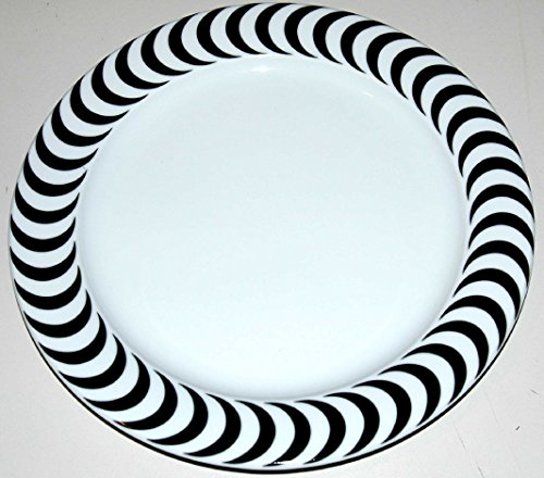 OPTICAL BOPLA! Porzellan 27cm grosser Essteller, large Plate Dinner Plate Black&White - White Dinner Plate