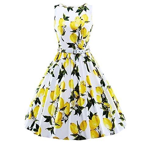 LUOUSE 'Audrey' Hepburn Stil Vintage Clarity Kleid im 50er-Jahre-Stil,White,M