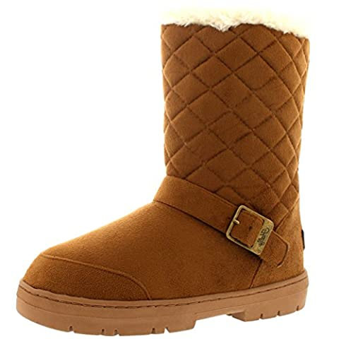 Womens One Buckle Classic Short Quilted Waterproof Winter Snow Rain Boots - Tan - 8 - 41 - AEA0245
