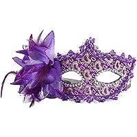 Kanggest. máscara de Halloween máscara Veneciana Mujer Negro con Pluma Interesante para Mujer máscara de la Mascarada y decoración de Fiesta (Purpura)