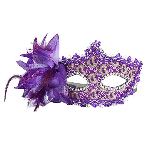 Daliuing Damen Maskenball-Maske, bunte Blumen, Pfirsich, venezianisches Halloween-Kostüm, aus Kunststoff für Karneval Party 17.5 * 11CM violett