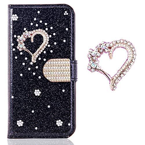 Preisvergleich Produktbild Bookstyle Bling Hülle für Huawei P30 Lite, Glitter Glitzer Diamond Musterg Slim Klassisch Modisch Magnet Leder Stand Funktion Kartenfach Flip Wallet