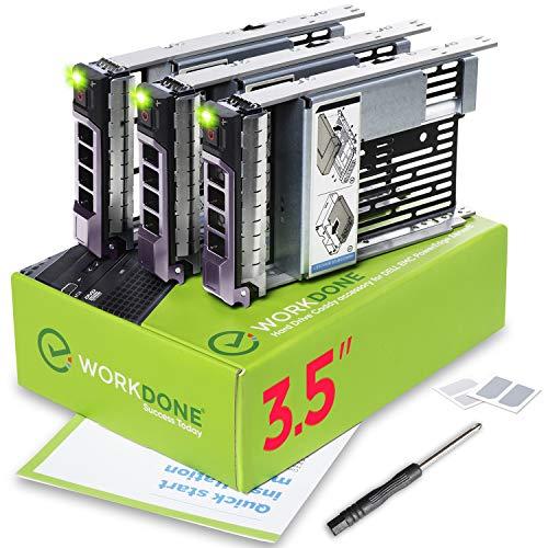 WorkDone 3er Pack - 3,5-Zoll Hard Drive Caddy Tray - Festplattenrahmen für 11-13. Generation Dell PowerEdge Server - mit 2,5-Zoll-HDD-Adapter NVMe SSD SAS SATA-Halterung Konverter Gehäuse