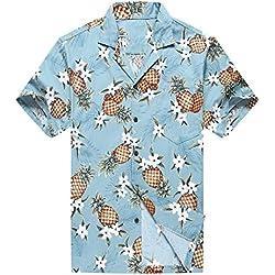 Hecho en Hawaii Camisa Hawaiana de los Hombres Camisa Hawaiana XL Piña Dorada en Vendimia Azul