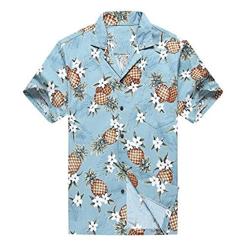 Hecho-en-Hawaii-Camisa-hawaiana-de-los-hombres-Camisa-hawaiana-L-Pia-dorada-en-Vendimia-Azul
