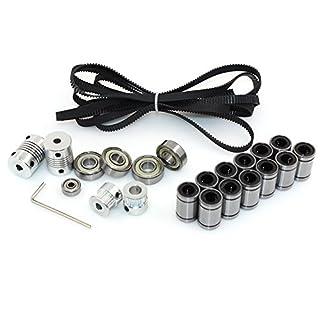 BIQU 3D-Drucker Reprap Prusa I3Bewegungskit; 2Meter GT2Zahnriemen + 20T Riemenscheibe + 608zz Lager + 624zz Lager + LM8uu lineares Lager + Motorwellenkupplung