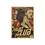 HUNJI Fight Club Kraft Poster in Carta Poster Vintage in Carta Poster Retro Art Wall Sticker Wall Sticker 51.5X35 cm