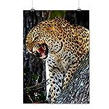 Léopard Photo Sauvage Animal Furieux Chat Sur Arbre Matte/Glacé Affiche A2 (60cm x 42cm) | Wellcoda