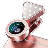 efanr 2in 1Telefon Kamera Objektiv mit Füllen Licht 140Grad Weitwinkel 15x Macro Lens 3Helligkeit verstellbar Licht Wechselrahmen Handy Kamera Kit für iPhone 7/7Plus/6/6Plus Samsung iPad