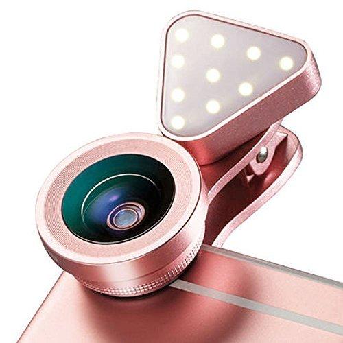 Galleria fotografica Efanr 2in 1obiettivo della fotocamera del telefono con luce di riempimento 140gradi obiettivo grandangolare 15x macro 3luminosità regolabile luce a clip fotocamera del cellulare kit per iPhone 7/7Plus/6/6Plus Samsung iPad