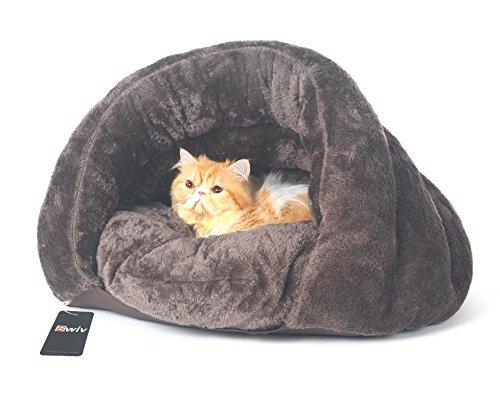 Bwiv Haustier Schlafsack Waschbar Anti-Rutsch Hund Katze Kuschelhöhle Bett Haus Kissen Herbst Warm Winter Ruheplatz Braun M