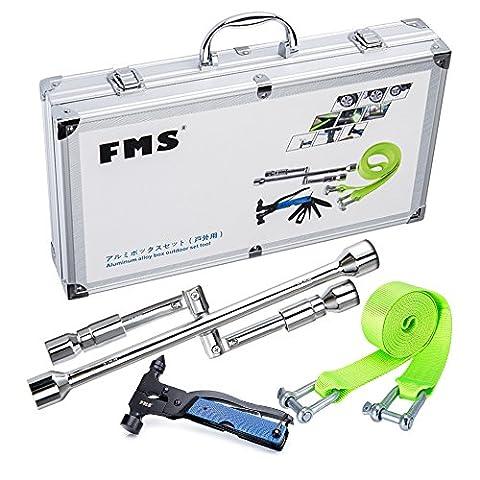 FMS Kfz Notfallset Auto Werkzeugkoffer, Kreuzschlüssel Faltbar (17/19/21/23mm), 5T 3,8m Abschleppseil, 13-in-1 Multi Funktion Notfall Hammer, Aluminium Werkzeugkoffer