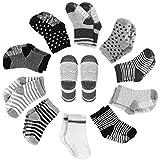 YISSVIC 10 Pares Calcetines Antideslizantes para Bebés Calcetines de Algodón para Niños 10 en 1
