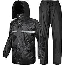 Al aire libre para adultos traje de chaqueta de la lluvia de pico idrorepellente & pantalón impermeable de la lluvia de combinación de lluvia ropa de abrigo impermeable con protección contra la humedad fuerte calidad, color Negro - negro, tamaño 175cm - 179cm 70kg - 80kg