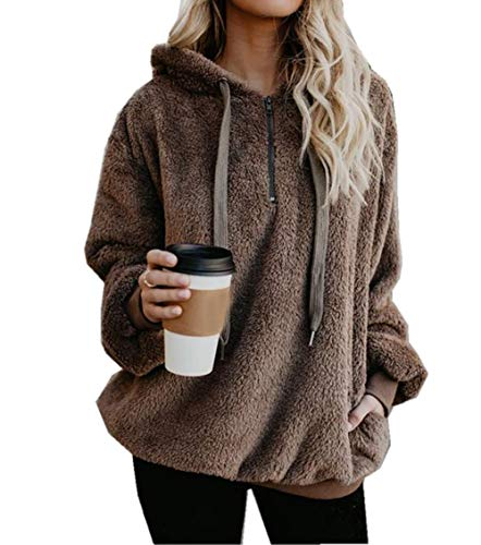ZIYYOOHY Damen Winter Kapuzenpullover Teddy-Fleece Langarm Oversize Sweatshirt Hoodie Einfarbig Warm (Größe:S- Bis -3XL) (M(38), Braun)