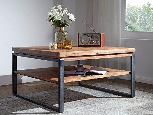 moebel-eins Malaga Couchtisch Wohnzimmertisch Tisch Holztisch Sofatisch Beistelltisch Kaffeetisch Akazie massiv mit Metallfüßen, 120 x 80 cm, Akazie Natur