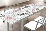 Mesa de cocina extensible en cristal templado y estructura gris 170x70cm con serigrafía, ideal para cocina