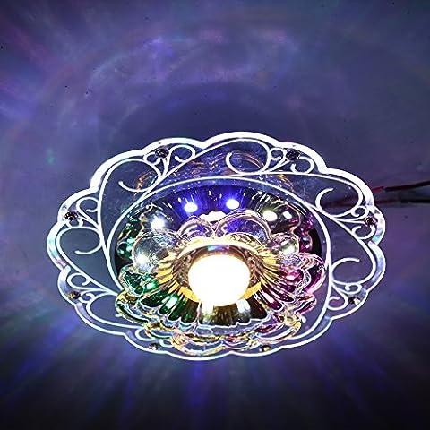 Fuloon LED de techo de Cristal Luz de lámpara Principal luz de Blanco Cálido Auxiliar luz de colores Iluminación de interior Luz Para Corredor, salón, dormitorio, sala de exposiciones, Balcón (5W-Blanco cálido-Colores)