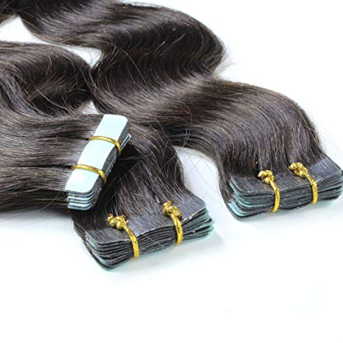 hair2heart 20 x 2.5g Tape In Echthaar Extensions, 50cm - gewellt - #1b naturschwarz