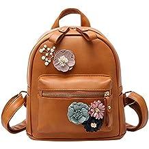 XLHMILY Mini Mochila de mujer de cuero PU Marrón flor de boho hecha a mano  Bolso 81651583f6743