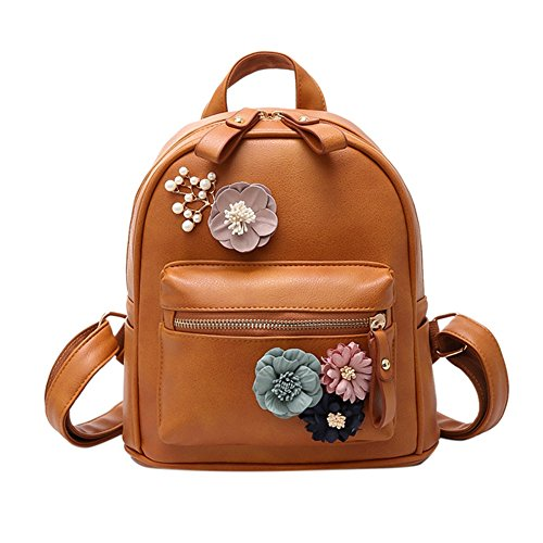 Bcony Mini Mochila de mujer de cuero PU Marrón flor de boho hecha a mano Bolso de hombro pequeño bolso casual de la universidad mochila para niñas adolescentes