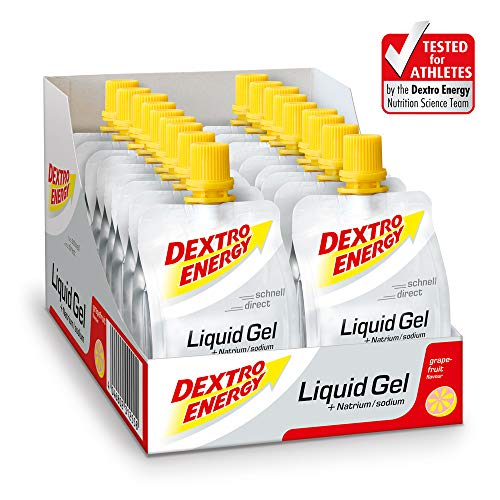 Dextro Energy Energy Gel | 18x60ml Liquid Gel Grapefruit | Mit Natrium & Dextrose | Energy Drink Alternative | Ideal als Sportgetränk -