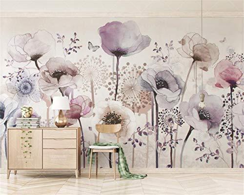 Cucsaistat Tapete Fototapete Wandbild Aquarell handgemalten Stil Lavendel Blume TV Hintergrund Wand 3D Wallpaper, 200 * 140cm
