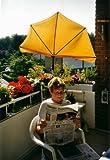 Neues Modell ab März 2018 - STABIELO - Balkonfächerschirm Holly'sun ® Farbe gelb 140 x 70 cm mit 5 fach im Radius verstellbarer Holly® 360 ° MULTI - halterung GVC (35 EUR) mit Gummischutzkappen - INNOVATIONEN MADE in GERMANY - HOLLY PRODUKTE STABIELO ® - Für Befestigungen bis Ø 55 mm - holly-sunshade ®