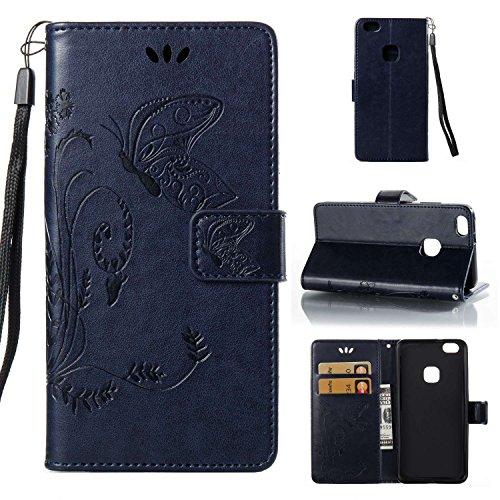 Guran® PU Ledertasche Case für Huawei P10 Lite Smartphone Flip Cover Wallet und Stent-Funktions Hülle Geprägtes Schmetterling Muster Etui - Dunkelblau