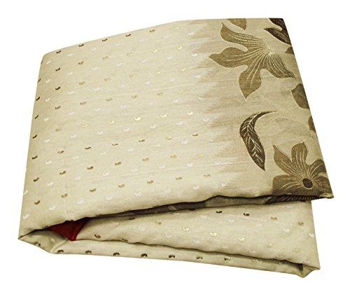PEEGLI Jahrgang Frauen Indische Saree Blumen Design Kleid Creme Chanderi Baumwolle DIY Handwerk Stoff Bollywood Sari -