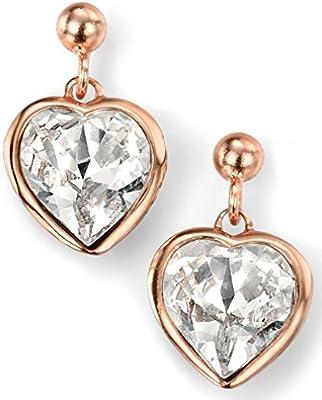 Mi-joya 925 de plata Rosa Oro chapado Swarovski cristal corazón Pendiente