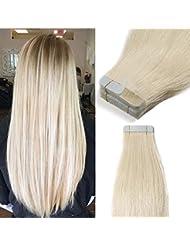 40 Pcs Extension Adhesive Cheveux Naturel Bande Adhesive Extension - Remy Human Hair Tape In Hair Extensions (...