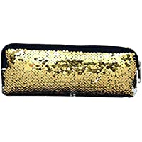 Lubier Multifuncional Sirena Bolsa de Cosméticos Flip Lentejuela Glitter Lápiz Bolsa Cambio de Sirena Reversible Lentejuelas Bolsa de Bolsas de Maquillaje para Adolescentes Viajando size 22*8cm (Gold)