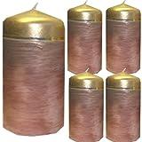 Weihnachten Kerzenset 4 Stück Stumpenkerzen Adventskerzen 100x50 Dekokerzen Kerzen für Adventskranz braun gold andere Farben möglich IW11