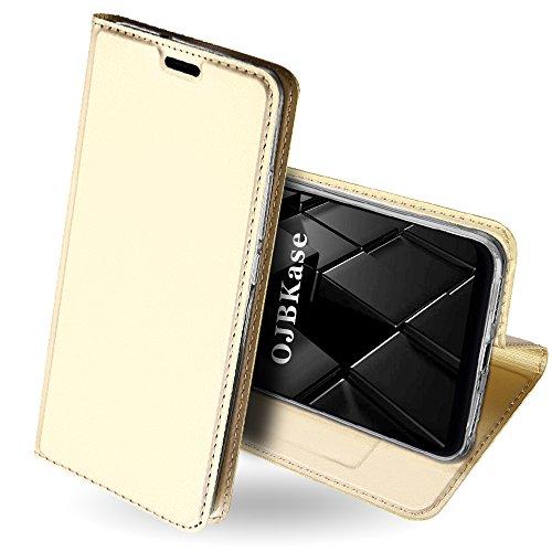 OJBKase Xiaomi Mi 8 Hülle, Premium Slim PU Leder Handy Schutzhülle [Standfunktion] Hülle/Cover/Brieftasche/Ledertasche Bookstyle Tasche Lederhülle Handyhülle für Xiaomi Mi 8 (Gold) Gold Handy Cover