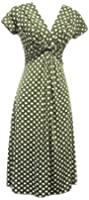 New Slinky Vtg WW2 Land girl 1940s 1950s Sage Green Polka Dot Swing Tea Dress