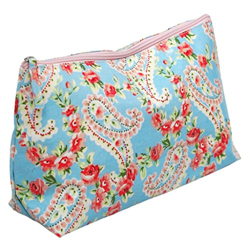 SCHÖNER LEBEN. Kosmetiktasche Kulturtasche Paisley Rosen blau rosa 18x33cm Paisley-rosen