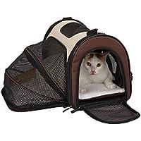 Petsfit Cage de Transport Extensible et Pliable pour Chiens et Chats, Marron (Petit : 41cm x 24cm x 28cm)