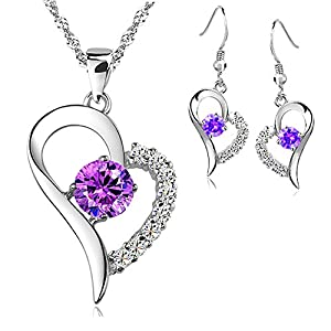 Kim Johanson Damen Schmuckset Lila Weiß Herz Halskette mit Anhänger & Ohrringe 925 Sterling Silber mit Zirkonia Steinchen besetzt inkl. Geschenkverpackung