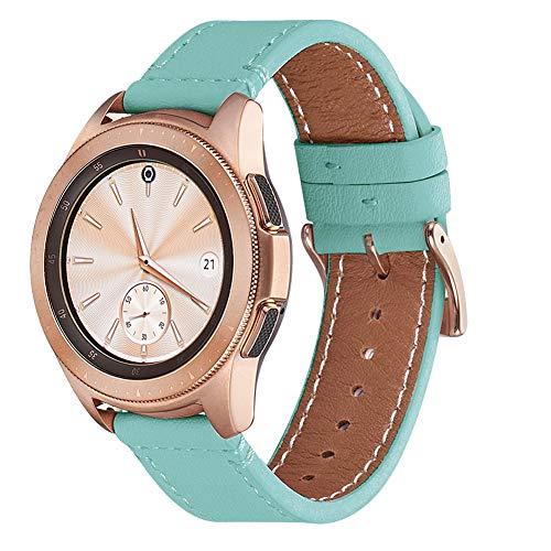 WFEAGL Kompatibel mit Samsung Galaxy Watch 46mm Armband/Gear S3 Frontier/S3 Classic/Huawei Watch GT/Watch 2 Classic,22mm Top Grain Leder Ersatzband (22mm,Tiffany+Golden Quadratische Schnalle)