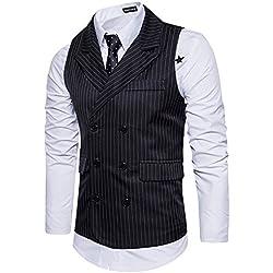 Leisure Hombre chaleco de traje blazers waistcoat sin manga Rayas formal Boda Ceremonia,Negro,L