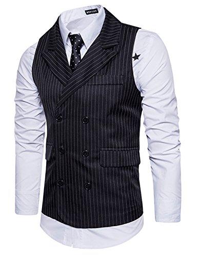 Leisure Herren Anzugweste Gentleman Basic Mode doppelt breasted drei Knöpfe Weste,Schwarz,XL (Drei-knopf-weste)