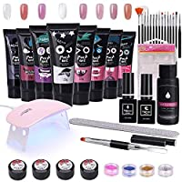 TopDirect 15ml Nail Polygel Kit 8 Colors Gel Polish 6W UV LED Nail Dryer with Top & Base Coat + Slip Solution + Painting Gel + Nail Decoration Glitter Nail Art Tool Nail Manicure Salon Set