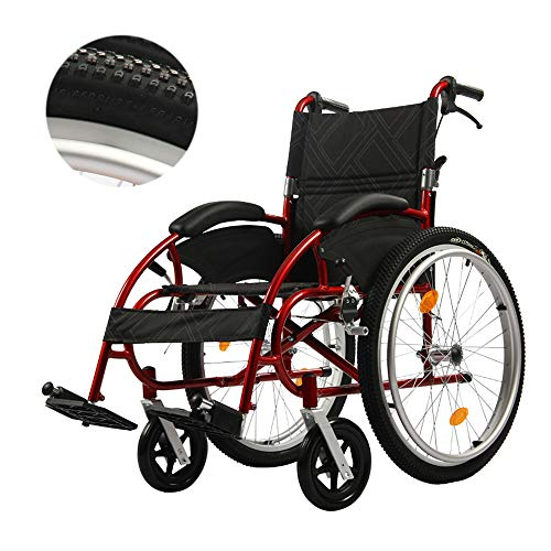 YH-LY Ultraleichter Faltbarer Rollstuhl, Rollstuhlrampe 2,00 mm Gebogene Halterung, Verbreiterung der Offroad-Reifen, leichte Faltrollstühle (Offroad-rollstuhl)