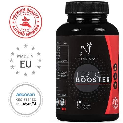 Testosterona. Potenciador de testosterona natural. Aumenta fuerza, masa muscular, libido sexual y rendimiento deportivo. 90 cápsulas vegetales. Vegano y sin gluten.